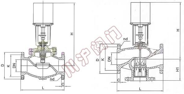 vb7000电动调节阀型号及尺寸图片