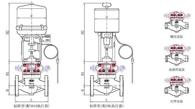 电动温度调节阀外形尺寸图图片